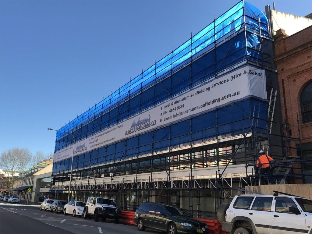 outside view of king st development refurbishment of newcastle premium office space with andersons scaffolding services